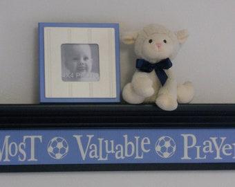 "Navy Blue Baby Boy Nursery Sign - Most Valuable Player -  Sign on 30"" Dark Navy Blue Shelf - Soccer Ball Sport Wall Decor Baby Nursery"