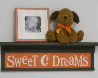 "Orange Baby Nursery - Sweet Dreams - Sign on 24"" Shelf Brown and Tangerine Moon and Star Nursery Wall Art"