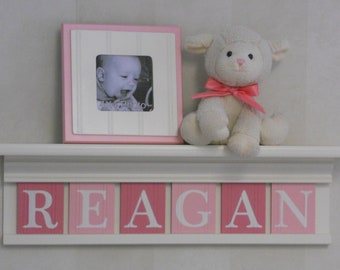 Personalized Baby Girls Nursery Wall Decor Pink Name on White Shelf with Pink and Light Pink Wooden Letters