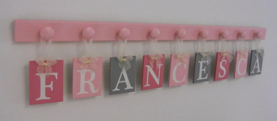 Pink And Gray Alphabet Letters Baby Girl Nursery Name Sign