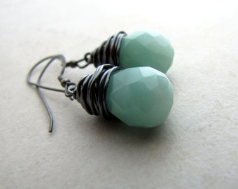 Green Aventurine Earrings Crystal Gemstone Mint Quartz