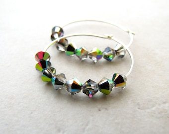Rainbow Earrings, Rainbow Hoops, Crystal Hoops, LGBT, Unicorn Earrings