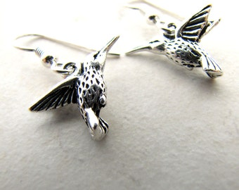 Hummingbird Earrings, Humming Bird Earrings, Silver Hummingbird, Bird Earrings, Bird Lover