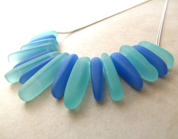 Sea Glass Seaglass Necklace Blue Aqua Turquoise Indigo Wire Wrapped Tusk Necklace