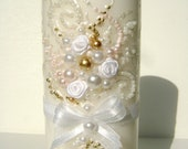 Wedding memorial candle in white, gold and blush pink, custom personalized candle