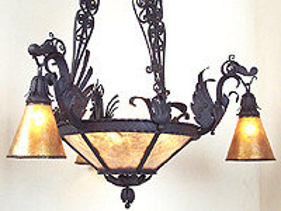 Iron Dragon chandelier with Mica Shades