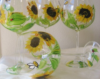 sunflower wineglasses set of four