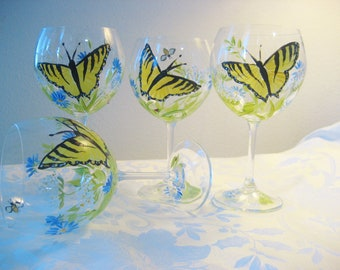 Hand painted swallowtail and wildflower wine glasses, set of four, gift for mom, wedding gift, personalized gift