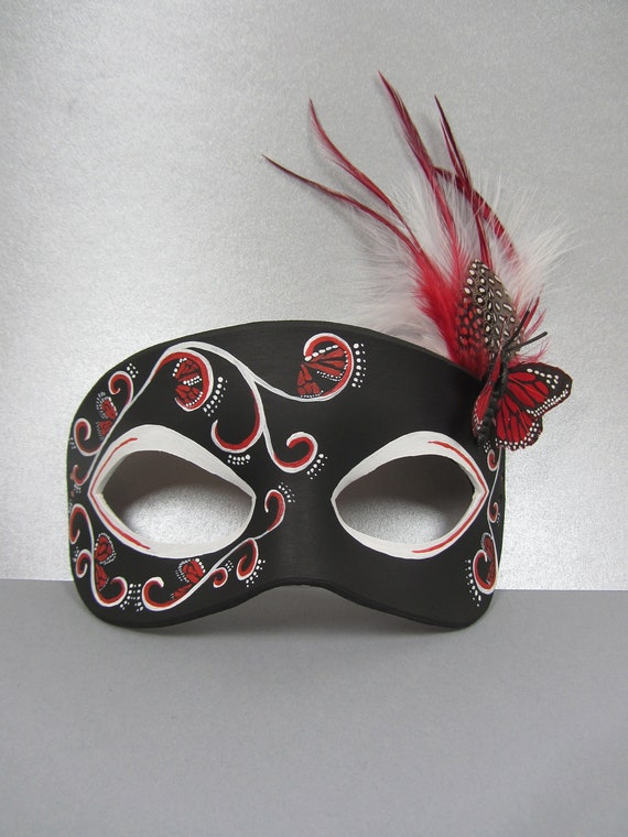 Butterfly Leather Masquerade Mask In Black And Red