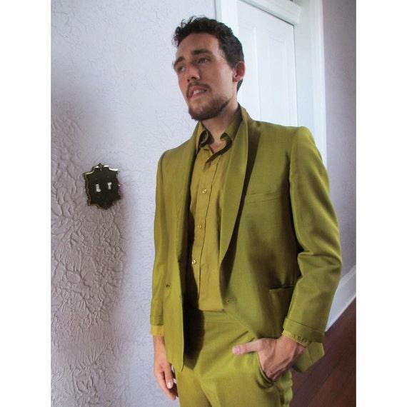 Vintage Men's Chartreuse Sharkskin Mod Suit Mad Men Mid Century