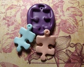 Autism puzzle piece flexible silicone push mold / craft/ dessert/ mini food / soap mold/ resin/jewelry and more...