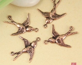 6pcs Copper Tone Brass Flying Swallow Connector Charm