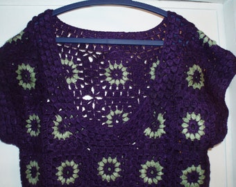 Crochet vintage 1960-s hippie style dress tunic  granny square puff stitch flowers purple plum olive green