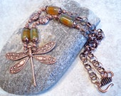 Copper Dragonfly and Mossy Green Necklace