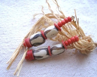 Africa Red glass recycled vinyl and batik bone Earrings by Fianaturals