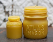 "Beeswax Candle Set - antique bottle shaped - ""Atlas Mason Jar - and -  Milk Weed Cream"" - by Pollen Arts - Md. & Sm.."