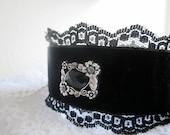 Lace cuff bracelet. Black velvet wrist cuff Victorian Bracelet Fabric jewelry w Cameo Rhinestones. Dramatic Statement Bohemian Gothic Retro