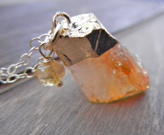 Citrine Gold Necklace 14k Gold Filled Chain, Gold Dipped Pendant, Natural Citrine Rock Pendant, Organic Yellow Necklace, November Birthston