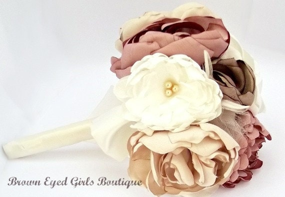 Fabric Bridal/Bridemaids Bouquet in Rose Pink, Ivory, Champagne Peonies, Dahlias and Roses, wedding bouquet
