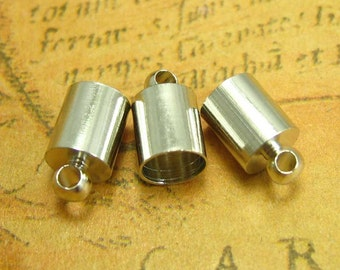 20 pcs Silver Cord Tip Cord End Fastener Clasps Crimp End 10x6mm CH1632