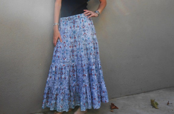 acid washed denim jean tiered navajo maxi skirt / M
