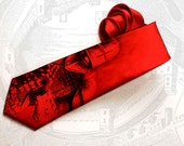 Dark knight inspired men's gothic tie. This steampunk necktie for men is red with medieval knight and armor design. - tiestory