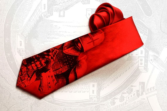 Dark knight inspired men's gothic tie. This steampunk necktie for men is red with medieval knight and armor design.