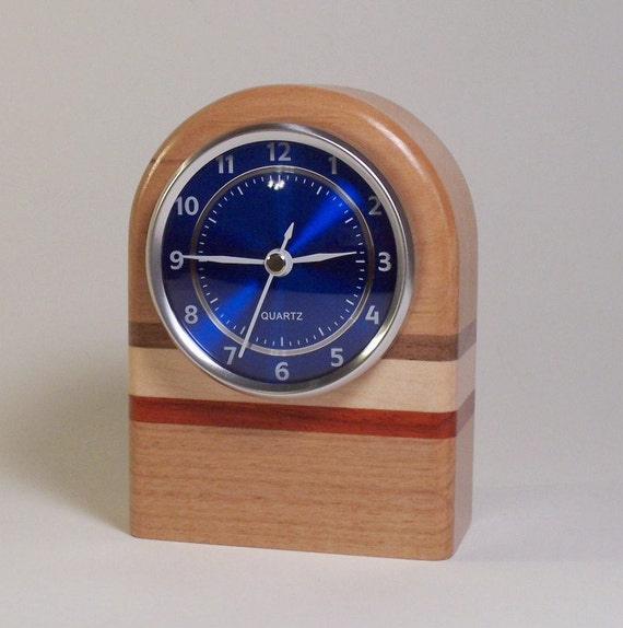 Small Wooden Mantle Desk Clock with Rugby Stripe Accents with Red or Blue Face