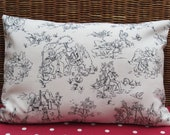 """One 18"""" by 12"""" Oblong Cushion Cover Lumbar Pillow Cover Cream and Black French Style Toile de Jouy Fabric on both sides"""