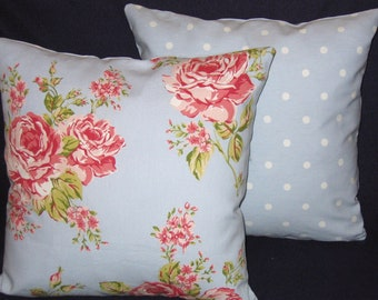 Pale Blue Floral Pillow Covers, Set of Cottage Chic Roses Cushion Covers, Floral Fronts and Blue Dotty Backs, 16 x 16 Inch Shabby Chic Style
