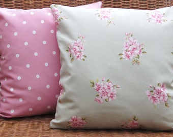 2 Cottage Chic Cushion Covers, Pillow Covers, 16 inch Pillow Slips, Pink pillow covers, Pink and green floral and Dotty