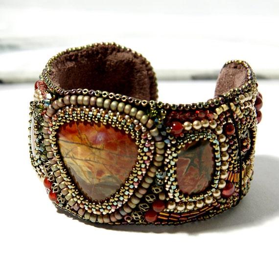 Bead embroidered cuff bracelet of cherry creek jasper stones