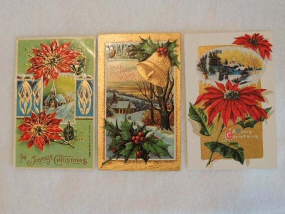 Lot of 3 Uncirculated VINTAGE CHRISTMAS POSTCARDS... Church Snow Poinsetta Holly