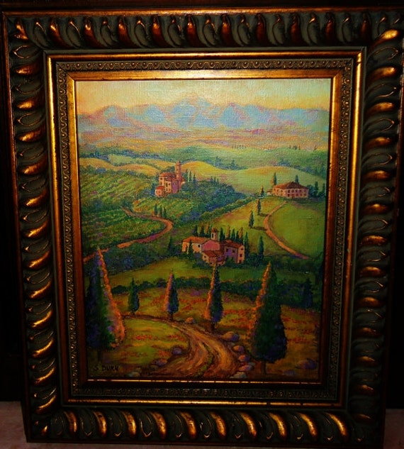 Landscape Painting of Tuscany: 8x10  Painting  of Tuscan road in wine country with golden sunrise