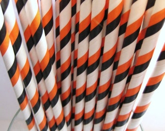 25 Halloween Triple Striped Retro Party Paper Drinking Straws A159