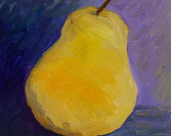 Oil Painting Pear - Original Painting - Still Life - Fruit Painting Pear - small painting - fine art - home decor