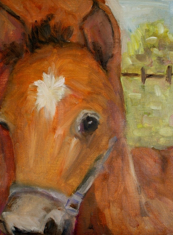 Oil Painting Horse - Foal Painting - Painting Animals - Baby Animals