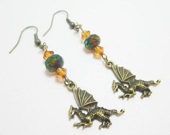 Fantasy Dragons,  Medieval Earrings,  Picasso Czech Rondelles, Topaz Swarovski Bicones