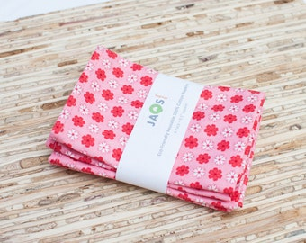 Small Cloth Napkins - Set of 4 - (N1198s) - Pink Modern Reusable Fabric Napkins