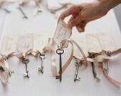 Rustic Skeleton Key Seating Chart Wedding Escort Seating tags manila shipping tags