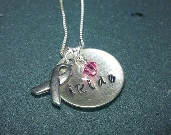 "Tri-Charm Breast Cancer Awareness ""iRide"" Sterling Necklace - CANECK03"