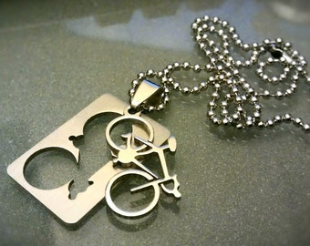 Bicycle Laser Cut Dog Tag Pendant and Necklace - UNSTNL02