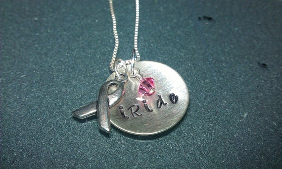 """Tri-Charm Breast Cancer Awareness """"iRide"""" Sterling Necklace - CANECK03"""
