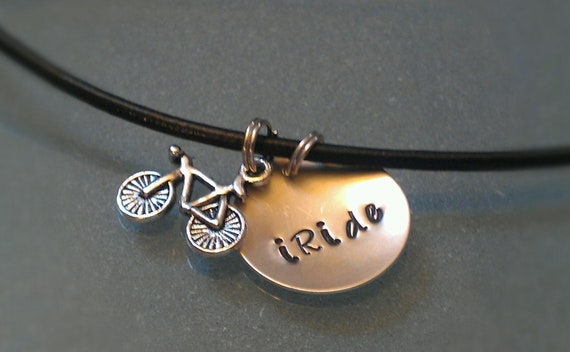 "Aluminum and Leather ""iRide"" necklace with Road Bike Charm - UNRACE03"