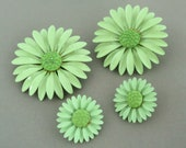 Vintage Enamel Flower Brooch Pair 1960s 1970s DAISY Brooch Set Clip Earrings Mint Green Hippie Chic Flower Power
