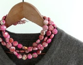 FLAMBE. pink jasper necklace in rhubarb pink and orange three strand with sterling silver clasp