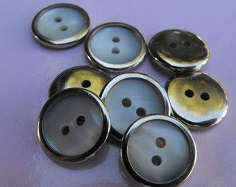 """10 Silver and Pearl Flat Round Buttons Size 9/16"""""""