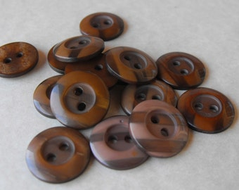 """25 Brown Striped Round Buttons Size 9/16"""""""