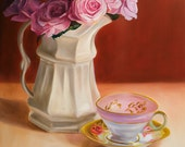 Oil Painting Pink Roses teacup print -Gift of the Rose Collection- Open Edition-Gratitude- 20x16""