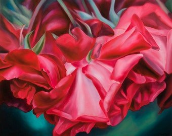 """Oil Painting Red Rose Print -Gift of the Rose Collection- Open Edition-Love- 16x20"""""""